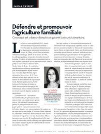 Défendre et promouvoir l'agriculture familiale