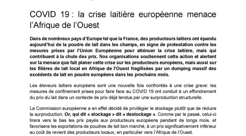 Covid-19 : la crise laitière européenne menace l'Afrique de l'Ouest