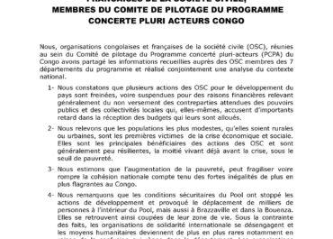 PCPA Congo - Déclaration des membres du comité de pilotage