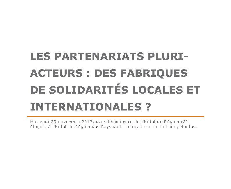 Les partenariats pluri-acteurs : des fabriques de solidarités locales et internationales ?