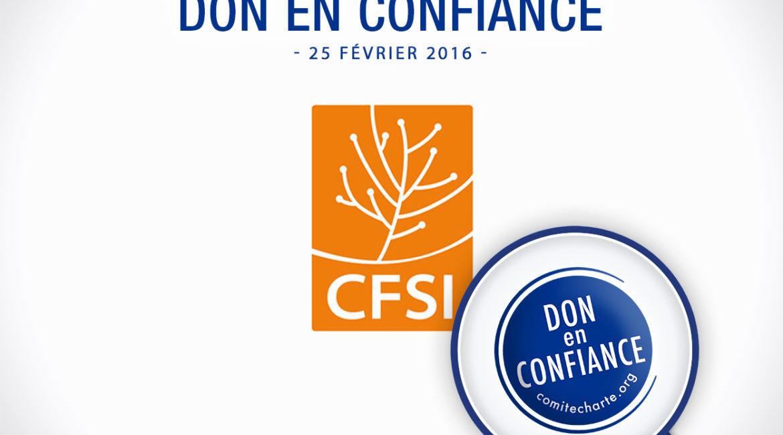 Le Comité de la Charte du don en confiance renouvelle son agrément au CFSI