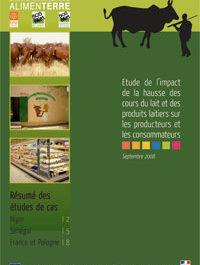 Etudes d'impact de la hausse des cours du lait